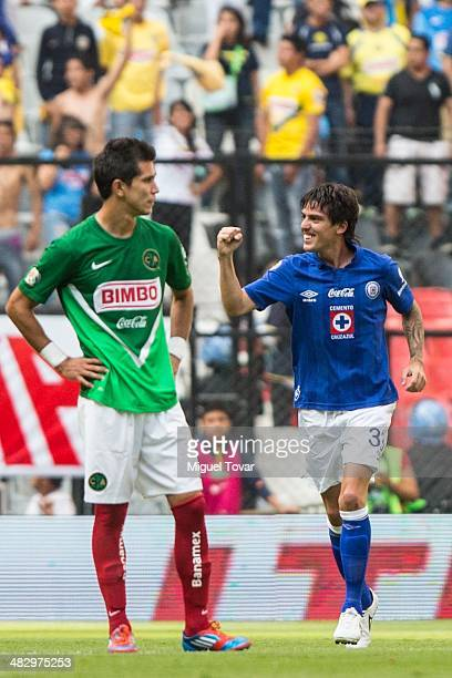 Mauro Formica of Cruz Azul celebrates after scoring the first goal of the game during a match between America and Cruz Azul as part of the 14th round...