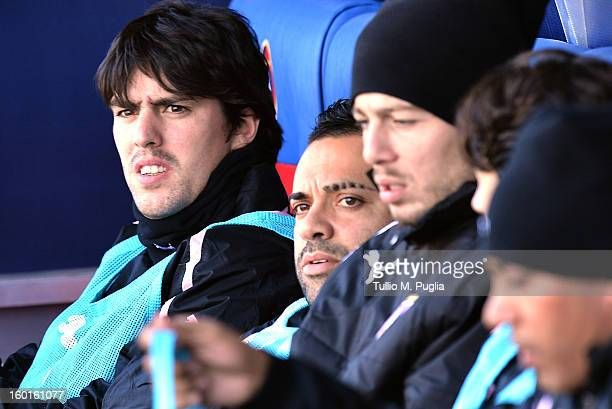 Mauro Formica of Palermo looks on in the bench during the Serie A match between Cagliari Calcio and US Citta di Palermo at Stadio Sant'Elia on...
