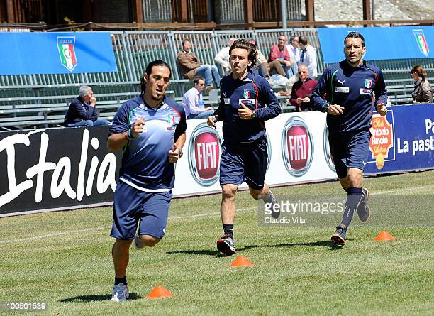 Mauro German Camoranesi Andrea Pirlo and Gianluca Zambrotta of Italy during the Italy Training Session on May 25 2010 in Sestriere near Turin Italy