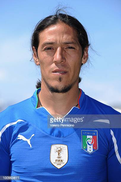 Mauro German Camoranesi of Italy national team poses for a photo during the official Fifa World Cup 2010 portrait session on May 26 2010 in Sestriere...