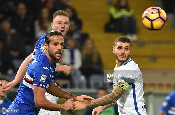 Mauro Icardi and Matias SilvestreMilan Skriniar during the Serie A match between UC Sampdoria and FC Internazionale at Stadio Luigi Ferraris on...