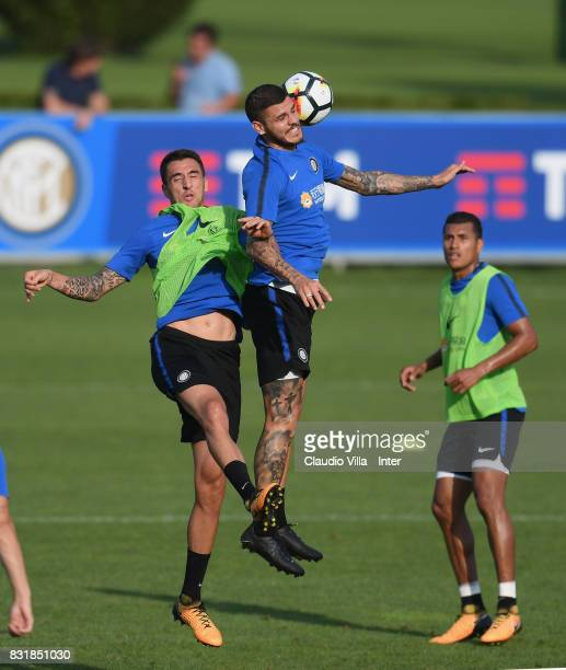 Mauro Icardi and Matias Vecino of FC Internazionale compete for the ball during a training session at Suning Training Center at Appiano Gentile on...