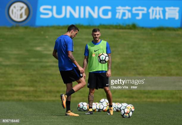 Mauro Icardi and Matias Vecino of FC Internazionale in action during a training session at Suning Training Center at Appiano Gentile on August 3 2017...