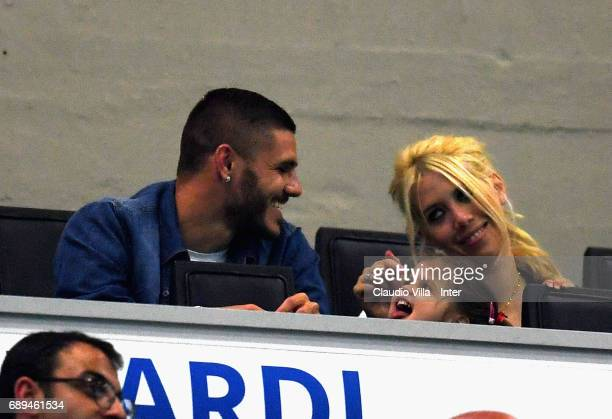 Mauro Icardi and Wanda Nara attend during the Serie A match between FC Internazionale and Udinese Calcio at Stadio Giuseppe Meazza on May 28 2017 in...