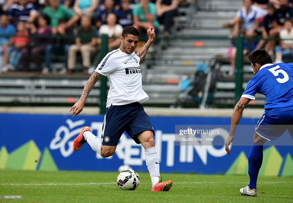 Mauro Icardi in action during the pre-season friendly match between FC Internazionale and AC Prato on July 20, 2014 in Pinzolo near Trento, Italy.