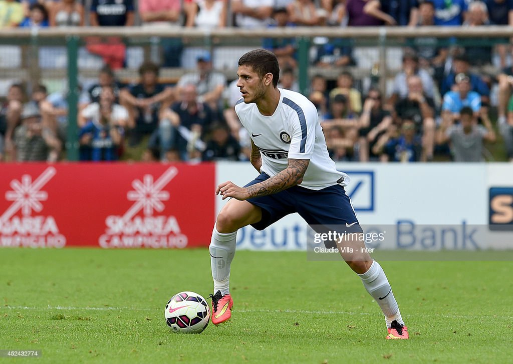 <a gi-track='captionPersonalityLinkClicked' href=/galleries/search?phrase=Mauro+Icardi&family=editorial&specificpeople=9761957 ng-click='$event.stopPropagation()'>Mauro Icardi</a> in action during the pre-season friendly match between FC Internazionale and AC Prato on July 20, 2014 in Pinzolo near Trento, Italy.