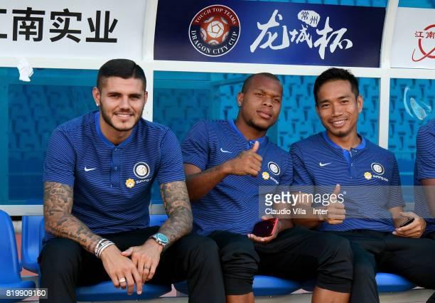 Mauro Icardi Jonathan Biabiany and Yuto Nagatomo of FC Internazionale look on before the press conference on July 20 2017 in Changzhou China