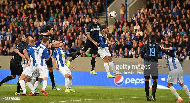 Mauro Icardi of FC Inter Milan in action during the UEFA Europa League Qualifying PlayOffs Round first leg match between Stjarnan and FC...