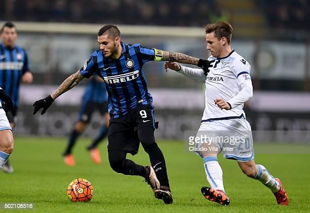 Mauro Icardi of FC Internazionale and Lucas Rodrigo Biglia of SS Lazio compete for the ball during the Serie A match between FC Internazionale Milano...