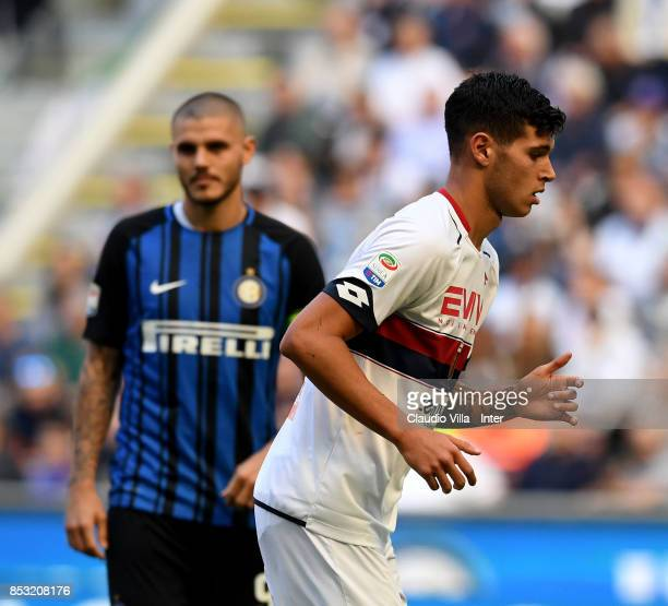 Mauro Icardi of FC Internazionale and Pietro Pellegri of Genoa CFC look on during the Serie A match between FC Internazionale and Genoa CFC at Stadio...