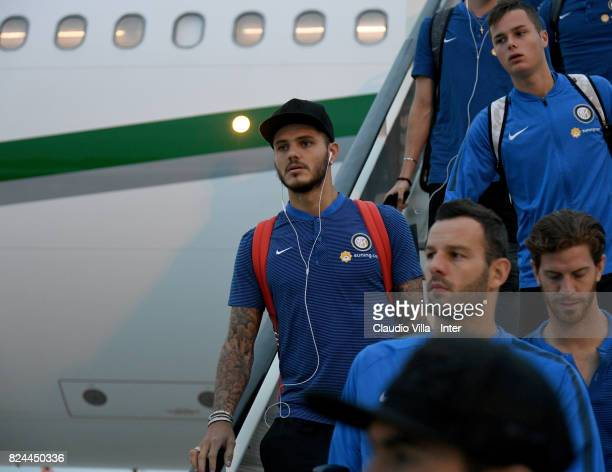 Mauro Icardi of FC Internazionale arrives at Malpensa Airport on July 30 2017 in Milan