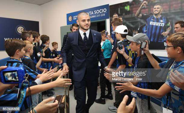 Mauro Icardi of FC Internazionale arrives prior to the Serie A match between FC Internazionale and Genoa CFC at Stadio Giuseppe Meazza on September...
