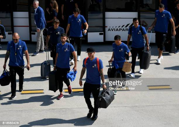 Mauro Icardi of FC Internazionale arrives with the team at Malpensa International Airport to depart to Nanjing International Airport for the club's...