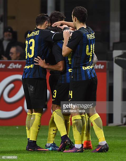 Mauro Icardi of FC Internazionale celebrate his second goal with Danilo D'Ambrosio Citadin Eder and Ivan Perisic during the Serie A match between FC...