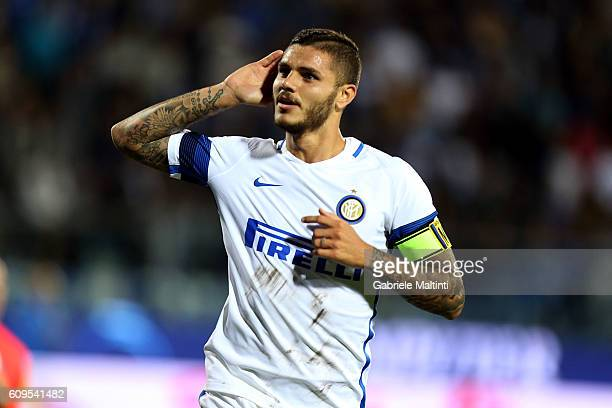 Mauro Icardi of FC Internazionale celebrates after scoring a goal during the Serie A match between Empoli FC and FC Internazionale at Stadio Carlo...