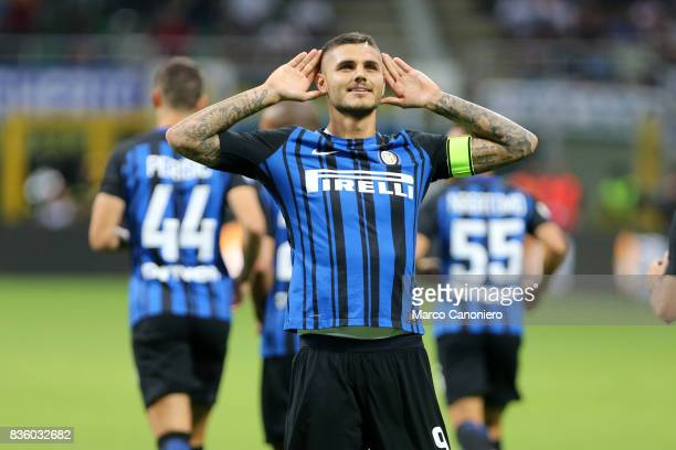 Mauro Icardi of FC Internazionale celebrates after scoring opening goal during the Serie A match between FC Internazionale and ACF Fiorentina...