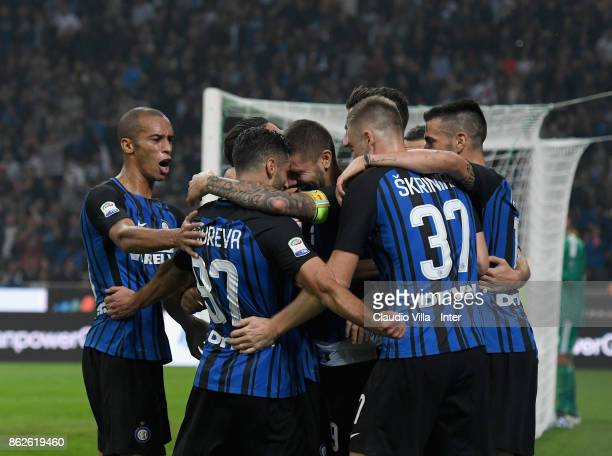 Mauro Icardi of FC Internazionale celebrates after scoring the first goal during the Serie A match between FC Internazionale and AC Milan at Stadio...