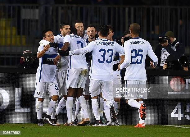Mauro Icardi of FC Internazionale celebrates after scoring the oponing goal during the Serie A match between Empoli FC and FC Internazionale Milano...