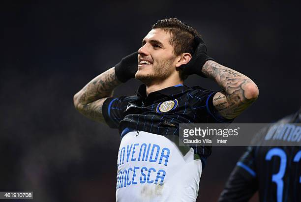 Mauro Icardi of FC Internazionale celebrates after scoring the second goal during the TIM Cup match between FC Internazionale Milano and UC Sampdoria...