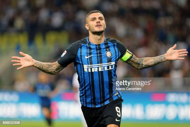Mauro Icardi of FC Internazionale celebrates after scoring the second goal during the Serie A match between FC Internazionale and ACF Fiorentina...