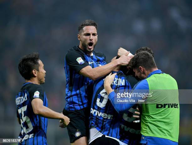 Mauro Icardi of FC Internazionale celebrates after scoring the second goal during the Serie A match between FC Internazionale and AC Milan at Stadio...