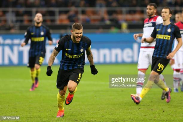 Mauro Icardi of FC Internazionale celebrates after scoring the third goal during the Serie A match between FC Internazionale and FC Crotone...