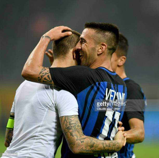 Mauro Icardi of FC Internazionale celebrates after scoring the third goal during the Serie A match between FC Internazionale and AC Milan at Stadio...