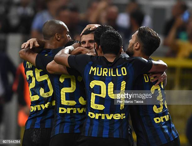 Mauro Icardi of FC Internazionale celebrates his first goal with his team players during the Serie A match between FC Internazionale and Juventus FC...