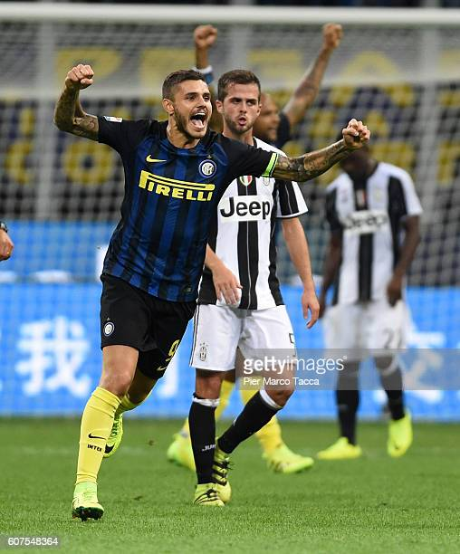 Mauro Icardi of FC Internazionale celebrates the victory at the end of the Serie A match between FC Internazionale and Juventus FC at Stadio Giuseppe...