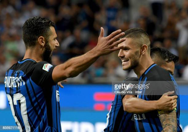 Mauro Icardi of FC Internazionale celebrates with Antonio Candreva of FC Internazionale after scoring the opening goal during the Serie A match...