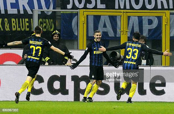 Mauro Icardi of FC Internazionale celebrates with his team mate a second goal during the Serie A match between FC Internazionale and SS Lazio at...
