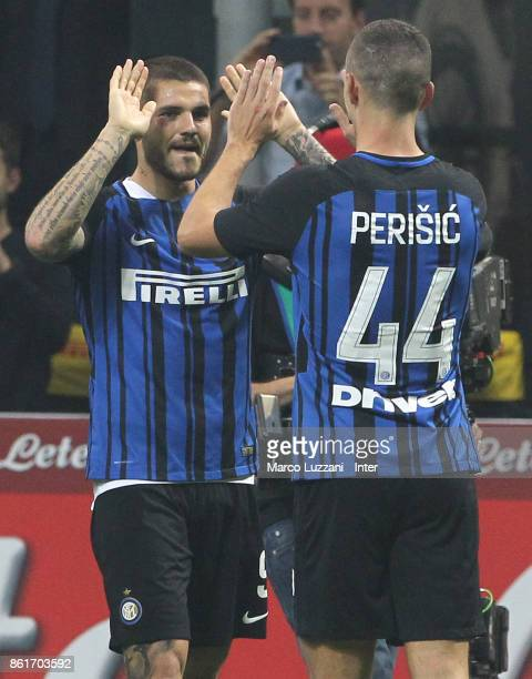 Mauro Icardi of FC Internazionale celebrates with Ivan Perisic of FC Internazionale after scoring the goal during the Serie A match between FC...