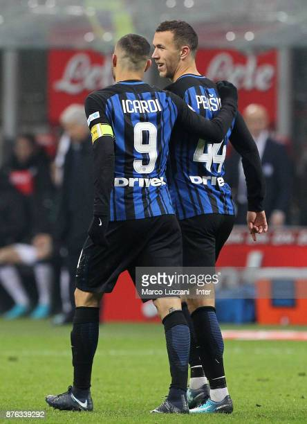 Mauro Icardi of FC Internazionale celebrates with Ivan Perisic of FC Internazionale after scoring the opening goal during the Serie A match between...