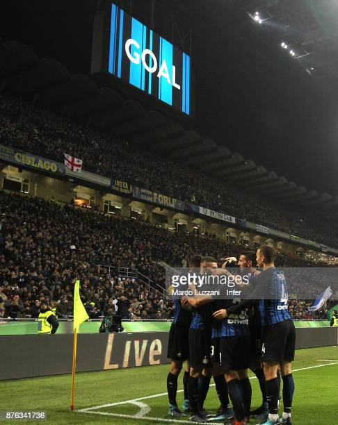 Mauro Icardi of FC Internazionale celebrates with teammates after scoring the second goal during the Serie A match between FC Internazionale and...