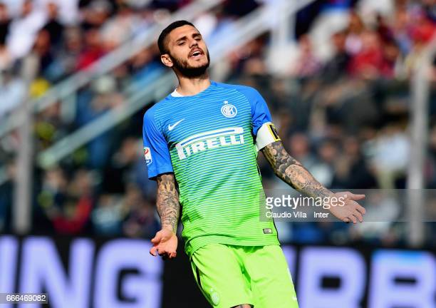 Mauro Icardi of FC Internazionale dejected during the Serie A match between FC Crotone and FC Internazionale at Stadio Comunale Ezio Scida on April 9...