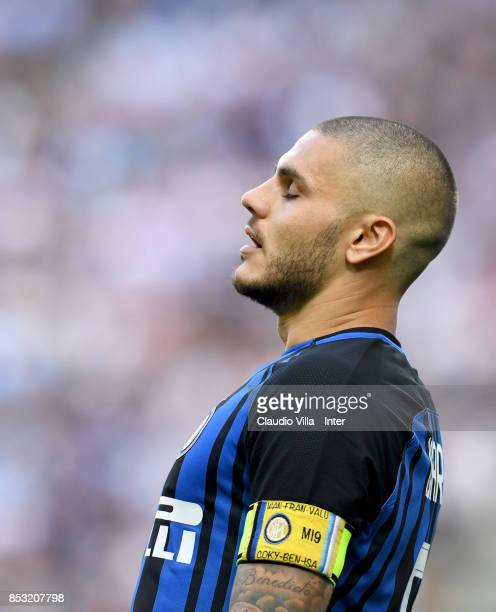 Mauro Icardi of FC Internazionale dejected during the Serie A match between FC Internazionale and Genoa CFC at Stadio Giuseppe Meazza on September 24...