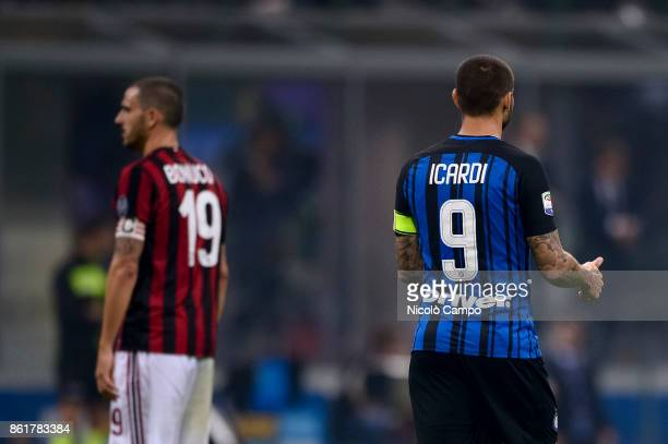 Mauro Icardi of FC Internazionale gestures during the Serie A football match between FC Internazionale and AC Milan There is Leonardo Bonucci of AC...