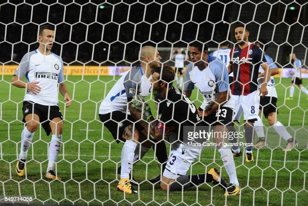 Mauro Icardi of FC Internazionale gets the ball after scoring a goal from the penalty spot during the Serie A match between Bologna FC and FC...