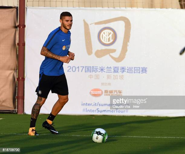 Mauro Icardi of FC Internazionale in action during a FC Interazionale training session at Suning training center on July 19 2017 in Nanjing China