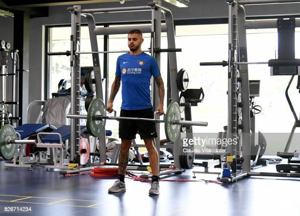 Mauro Icardi of FC Internazionale in action during a training session at Suning Training Center at Appiano Gentile on August 3 2017 in Como Italy