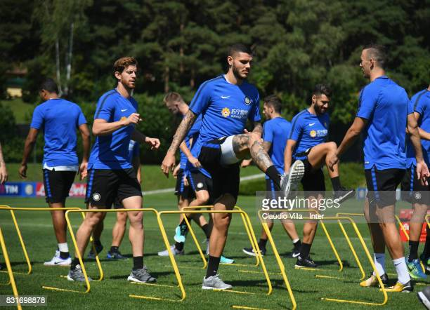 Mauro Icardi of FC Internazionale in action during a training session at Suning Training Center at Appiano Gentile on August 15 2017 in Como Italy