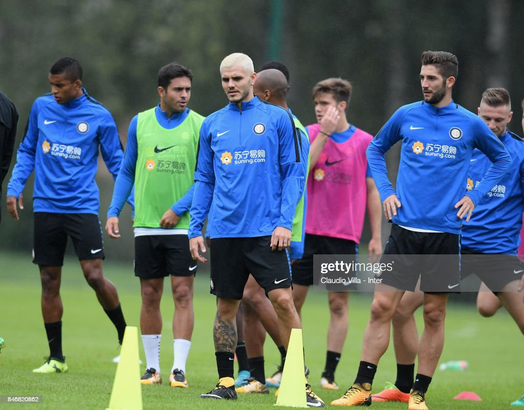 Mauro Icardi of FC Internazionale in action during a training session at Suning Training Center at Appiano Gentile on September 14, 2017 in Como, Italy.