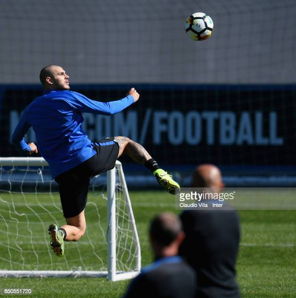 Mauro Icardi of FC Internazionale in action during a training session at Suning Training Center at Appiano Gentile on September 21 2017 in Como Italy