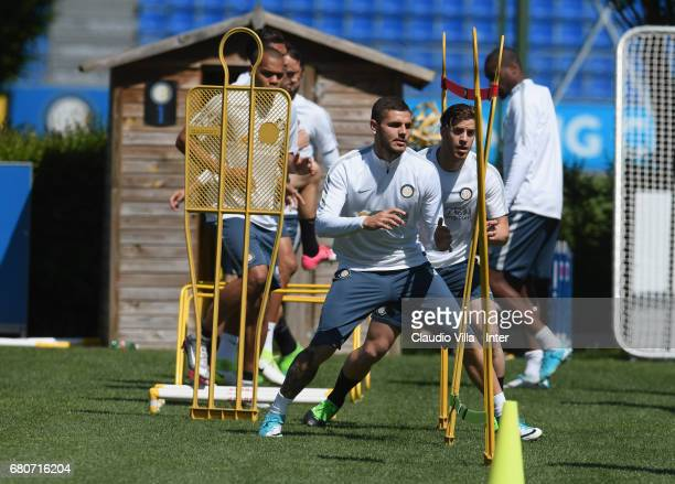 Mauro Icardi of FC Internazionale in action during FC Internazionale training session at Suning Training Center at Appiano Gentile on May 09 2017 in...