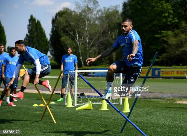 Mauro Icardi of FC Internazionale in action during FC Internazionale training session at Suning Training Center at Appiano Gentile on May 16 2017 in...