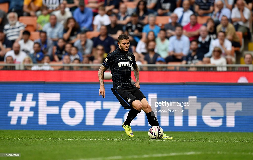 Mauro Icardi of FC Internazionale in action during the Serie A match between FC Internazionale Milano and Juventus FC at Stadio Giuseppe Meazza on May 16, 2015 in Milan, Italy.