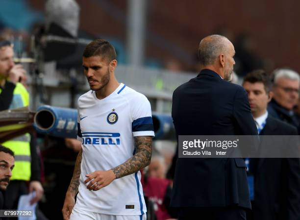 Mauro Icardi of FC Internazionale looks dejected during the Serie A match between Genoa CFC and FC Internazionale at Stadio Luigi Ferraris on May 7...