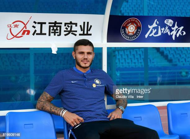 Mauro Icardi of FC Internazionale looks on before the press conference on July 20 2017 in Changzhou China