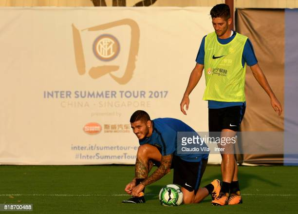 Mauro Icardi of FC Internazionale looks on during a FC Interazionale training session at Suning training center on July 19 2017 in Nanjing China