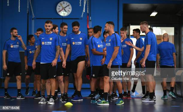 Mauro Icardi of FC Internazionale looks on during a training session at Suning Training Center at Appiano Gentile on August 3 2017 in Como Italy